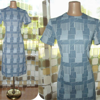 Vintage 60s Dress | 1960s Op-Art Dress | Chambray Blue Geometric Print | Space Age MOD | Scooter Girl Shift Cut | Size Medium Large