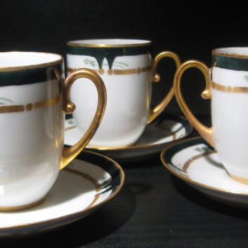 1914-1918 Empire Austria  Imperial Austria PSL Porcelain Signed and Initialed by Artist WW I Era Demitasse Cup and Saucer Set of 3
