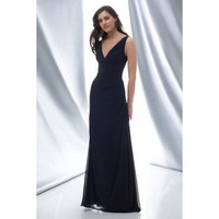 V-neck A-line with ruffle embellishment chiffon bridesmaid gown