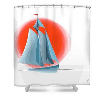 Sailing Red Sun Shower Curtain for Sale by Ben and Raisa Gertsberg