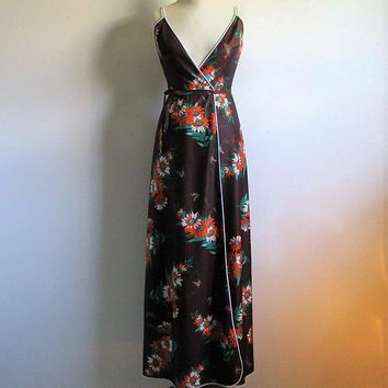 Summer Low Cut Floral 70s Wrap Dress Dark Brown Orange Vintage 1970s Daisy Cross Over Maxi Dress Small