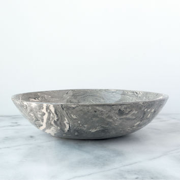Grey Ebru Marble Ceramic Serving Bowl