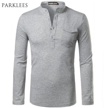 Solid Color Polo Shirt Men 2017 Brand New Long Sleeve Mens Polo Shirt Homme Slim Fit Polo Shirt Real Pocket Casual Henley Shirt