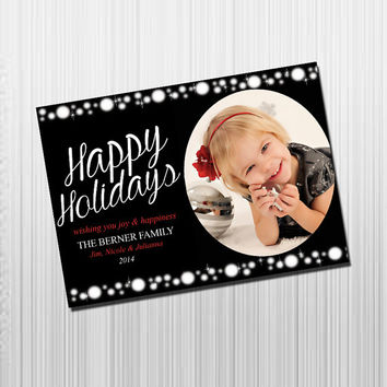 Custom Photo Holiday Card - Digital File Photo Holiday Card - Black and Red Sparkles