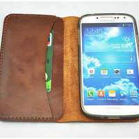 Sale 15% OFF -Handmade Samsung Galaxy S3 S4 - Leather Phone Holder - Samsung Note 2 3 Phone Wallet - Leather Phone Cover