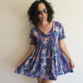 Vintage 90s Distressed Tie Dye Grateful Dead Festival Grunge Mini Baby Doll Dress