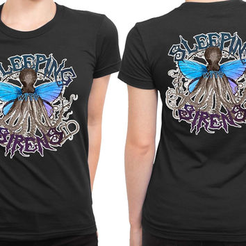 Sleeping With Sirens Fly Illustrations 2 Sided Womens T Shirt