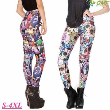 Zombie Print Leggings Sugar Skull Day Of The Dead Running Yoga Workout