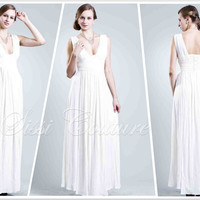 White Party Dress Goddess Vintage Sexy Cozy Deep V-neck Knit Jersey Maxi Gown Evening Dress