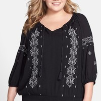 Plus Size Women's Caslon Embroidered Smocked Peasant Top,