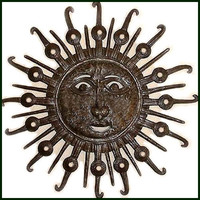 Haitian Sun Metal Sculpture Wall Hanging - Steel Drum Metal Art