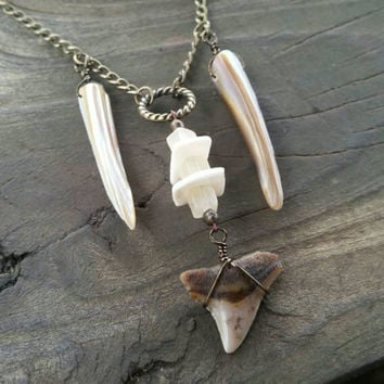 shark tooth, shell, stone pendant necklace // nickel free // R188
