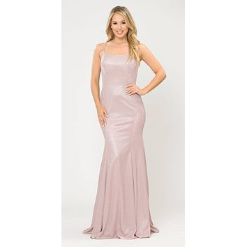 Lace-Up Back Rose Gold Long Prom Dress