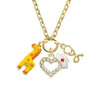 Resin Yellow Geronimo the Giraffe Gold Tone Nurse Heart Stethoscope Zoe Necklace