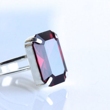 Emerald Cut Swarovski Crystal Ring - Siam.   Red Crystal Ring.  Cocktail Ring.  Adjustable Ring