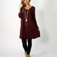 Evelyn Tunic Dress with Crochet Detail: Burgundy