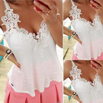 2014 Fashion Summer Women Clothing White Lace Blouse Tank Top Deep V Sexy Women Blouses Blusas Femininas = 1667685764