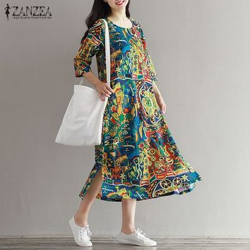 2018 ZANZEA Vintage Floral Print Women 3/4 Sleeve O Neck Pockets Summer Loose Casual Party Midi Dress Cotton Vestido Plus Size