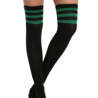 LOVEsick Black And Green Over-The-Knee Crew Socks
