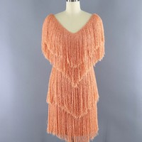 Vintage 1980s French Rags Fringed Dress / Apricot Orange