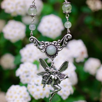 Green Fairy - fantasy necklace, fairy pendant,gemstone prehnite,floral motifs,elvish necklace,fairy necklace,fantasy jewelry,silver flower