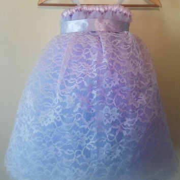 Lavender Flower girl tutu dress with lace overlay / Junior Bridesmaid / Pageant Dress / Tulle Flower girl / Christening Gown / Flowergirl
