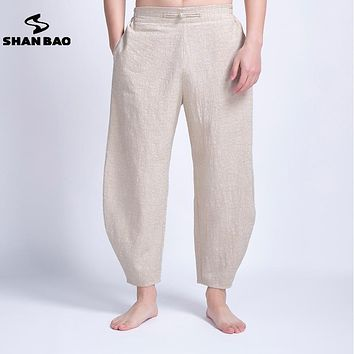 Men's linen casual pants thin section breathable 2017 summer new Chinese style loose harem pants loose waist trousers men