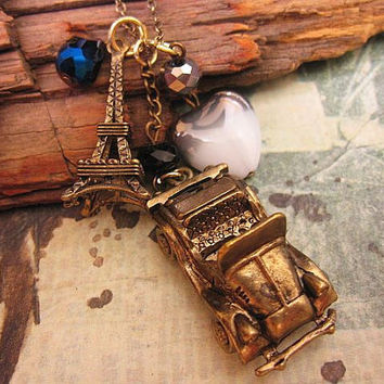 Road Trip to Paris a charm necklace by trinketsforkeeps on Etsy
