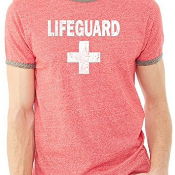 Yoga Clothing for You Mens Distressed Lifeguard Tee Shirt