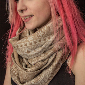 Large Tan, Cream and Light Pink Girly Pattern Infinity Scarf - Hand sewn - one of a kind
