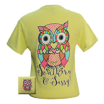 Bjaxx Lilly Paige Southern & Sassy Owl Girlie Bright T Shirt