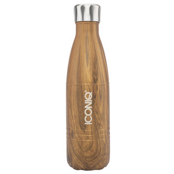 ICONIQ 17oz Oak Water Bottle - Stainless Steel Vacuum Insulated