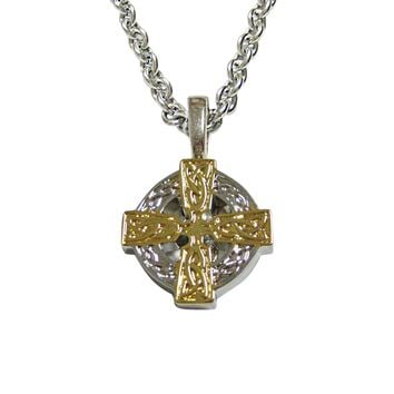 Gold and Silver Toned Celtic Cross Pendant Necklace