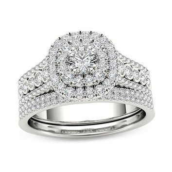 1 CT. T.W. Diamond Double Cushion Frame Multi-Row Bridal Engagement Ring Set in 14K White Gold