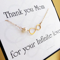 ONE mother of the bride or groom cards with infinity bracelet, mothers gift, gift for mother in law