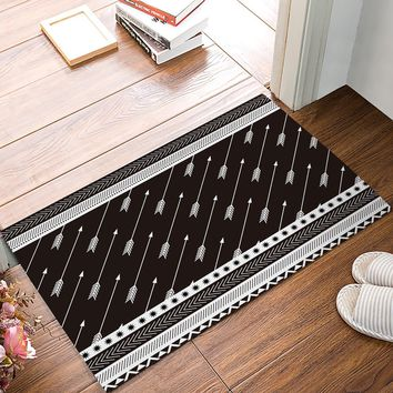 Autumn Fall welcome door mat doormat Indian Style Arrow Geometric Brown s Kitchen Floor Bath Entrance Rug Mat Absorbent Indoor Bathroom Rubber Non Slip AT_76_7