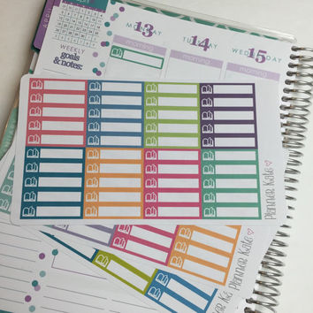 S59 BOOK / STUDY Label Sticker for Erin Condren Life Planner - 40 Removable Matte Stickers