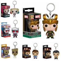 Marvel Funko Pop Movie Arrow Vinyl Figure Pocket Keychain Harley Quinn Super Natural Dancing Groot Loki Ant-Man Bobble Head Toys