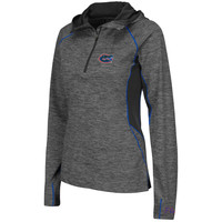 Florida Gators Colosseum Women's 1/4 Zip Hooded Wind Jacket - Charcoal