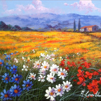 N*10 Italian landscape original oil painting of Anna Cantini enjoy with colors & flowers Italy Italia - Dipinto paesaggio Italiano