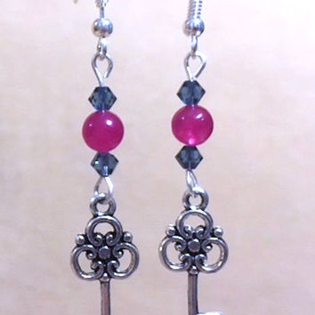 Key Charm Earrings, Rose Jade & Purple Crystal Silver Detailed Key Charm Earrings, Jade Earrings, Crystal Earrings, Handmade Beaded Jewelry