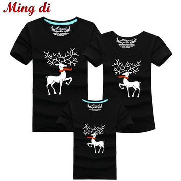 CREYL Ming Di Christmas Family Matching Outfits T-shirt More Color Milu Deer Matching Family Clothes Mother Father Baby Short Sleeve