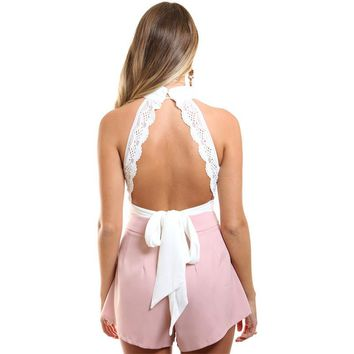 2017 New Bandage Women Crop Top Backless Bodycon Sexy Crop Tops Solid Turtleneck White Tank Top Shor