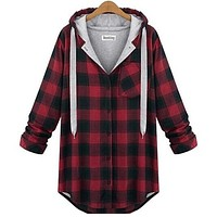 Women hoody  Plaid bts Outerwear Long Sleeve Sweatshirts