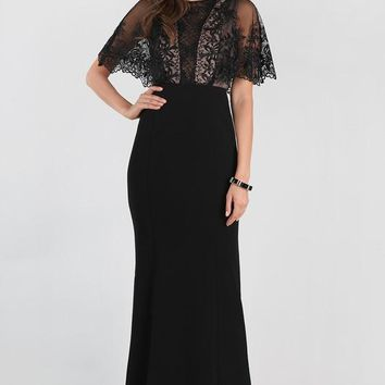 Embellished Lace Caplet Dress