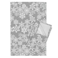 Orpington Tea Towels featuring Snowflakes Gray by kimsa