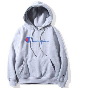 Champion Classic Letters Printed Men And Women Plus Velvet Hood Hooded Sweater Jacket Gray