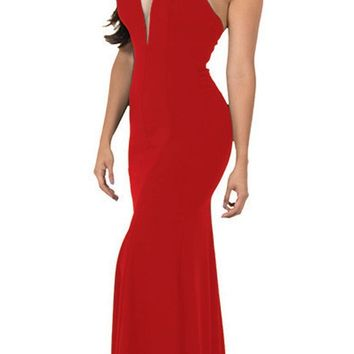 Deep V-Neck Halter Long Prom Dress Red