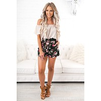 Garden Path Floral Shorts (Olive)