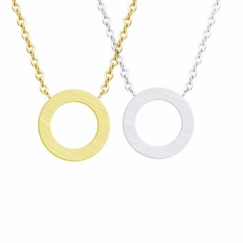 Simple Brushed Round Circle Charm Eternity Karma Necklace Pendant Forever Love Good Luck Long Gold Chain Holiday Beach Jewelry